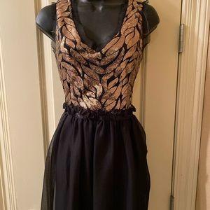 GB gold sequin V-Neck Swing Dress